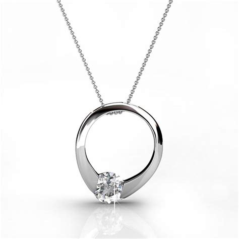 White Gold With Silver Chain 010 dahlia blossom sterling silver 18k gold plated swarovski necklace cate