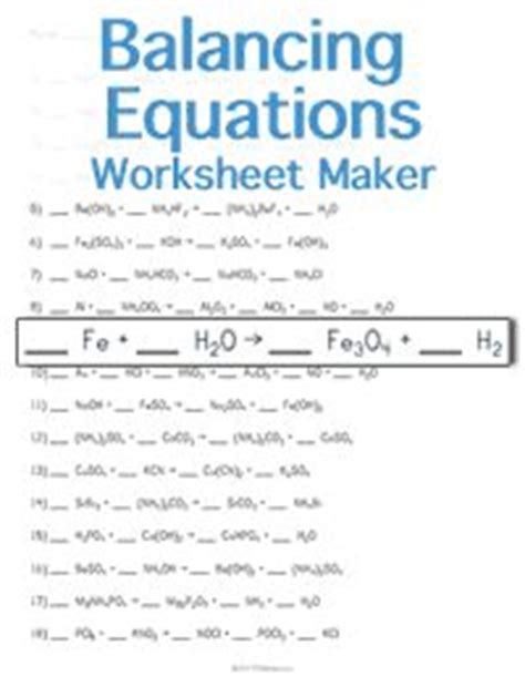 Balancing Chemical Equations Worksheet Middle School by 17 Best Images About Chemical Equations On