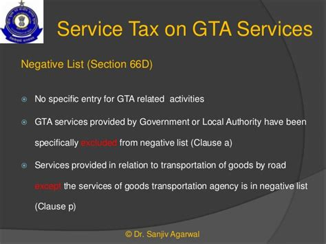 section 66d of service tax a presentation on construction gta services an