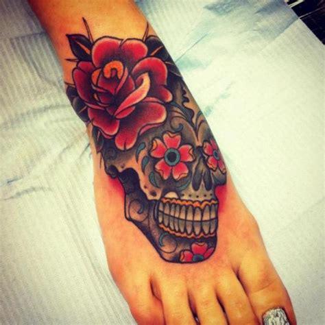 tattoo old school skull old school foot flower skull tattoo by all star ink tattoos