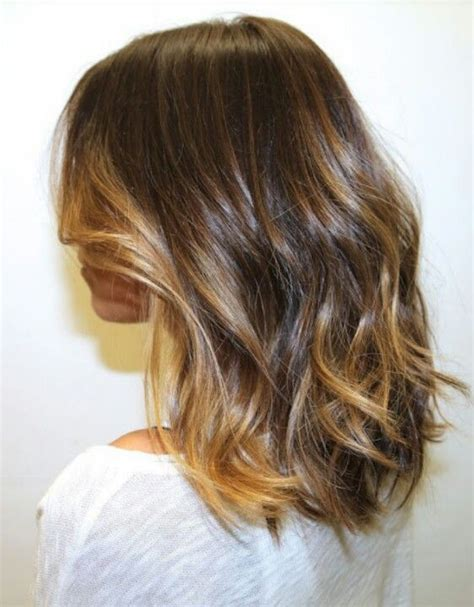medium length hair with ombre highlights shoulder length chestnut with minimal caramel ombre
