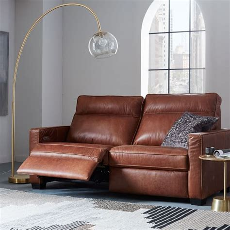 power recliner sofa leather henry 174 leather power recliner sofa tobacco west elm