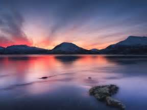 Wall Murals Art sunset over tjeldsundet troms county norway photographic
