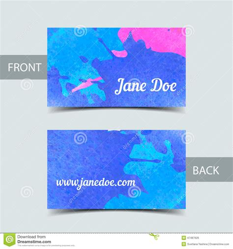 Credit Card Template Illustrator Business Card Template For Watrcolor Illustrator Stock Vector Image 47487626
