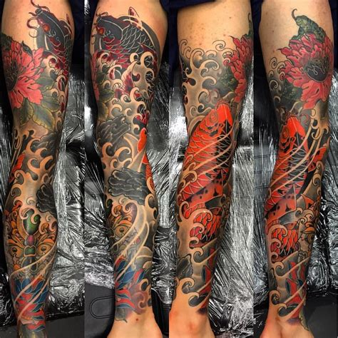 dragon tattoo dublin first tattoo koi leg sleeve by darren brauders of colour