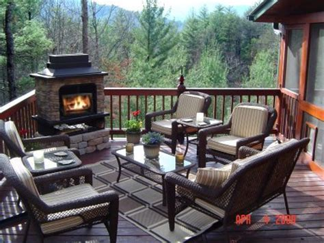 Fireplace Deck by Mountain View Cabin For Sale In Blue Ridge Ga