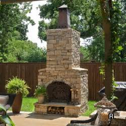 outdoor fireplace with chimney cap firerock