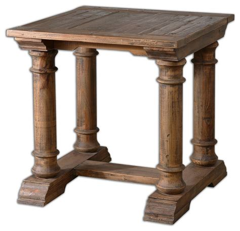 elegant accent tables uttermost elegant distressed columns solid wood accent