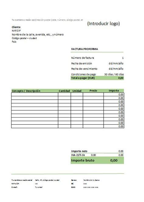 excel plantilla para elaborar el borrador con anexos de las modelo de factura proforma
