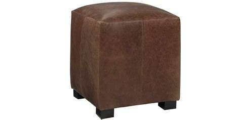 leather upholstered cube ottoman club furniture