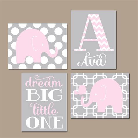 Girl Elephant Nursery Wall Art Pink Gray Nursery Baby Girl Pink Nursery Wall Decor
