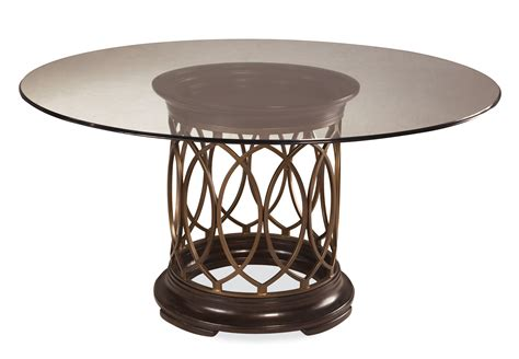 Centerpieces Round Glass Top Dining Table With Three