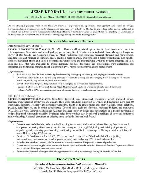Resume Sample Store Manager grocery store manager resume