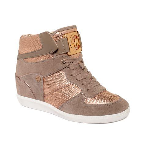 gold wedge sneakers michael kors nikko high top wedge sneakers in gold