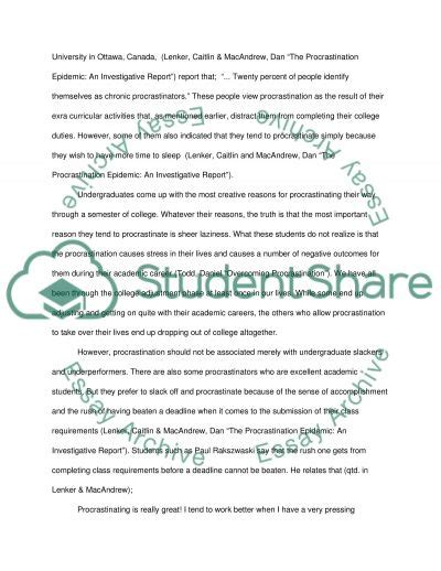 Procrastination Essay by Why Do College Students Procrastinate Essay Exle Topics And Well Written Essays 1000 Words
