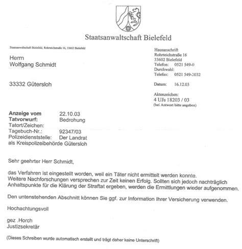Abmeldung Schreiben Muster Schule Schreiben Der Staatsanwaltschaft Bielefeld