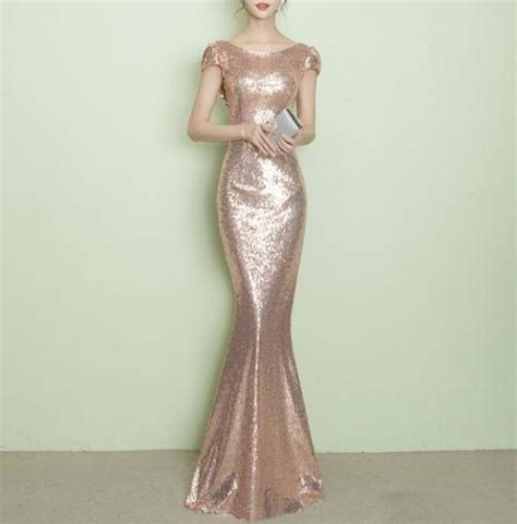ZX33 Short Sleeve Mermaid Sequin Gold Prom Dress,Rose Gold