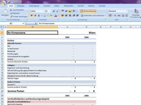 Muster Jahresabschluss Bilanz Excelvorlage De