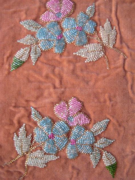 beaded velvet fabric antique beaded panel vintage fabric swatch textile