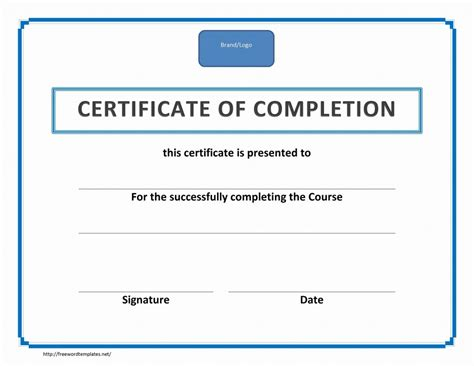 word template certificate of completion certificate of completion