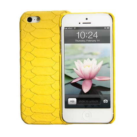 yellow iphone 5 shell embossed python leather gigi new york