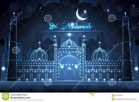 decorated mosque  eid mubarak stock vector image