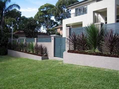 front house fence design fence designs by modular wall systems block wall of concrete pillars with wooden