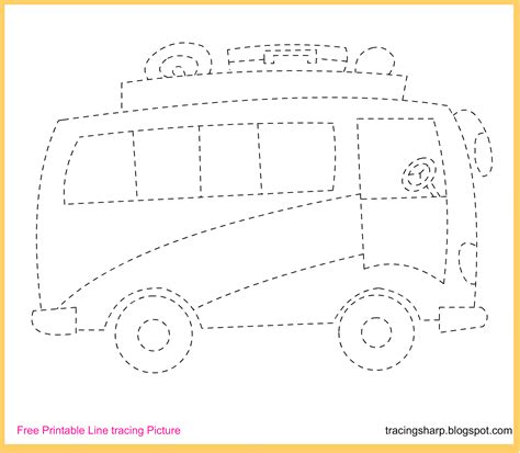 free printable tracing worksheets for preschool free tracing line printable bus picture cakepins com