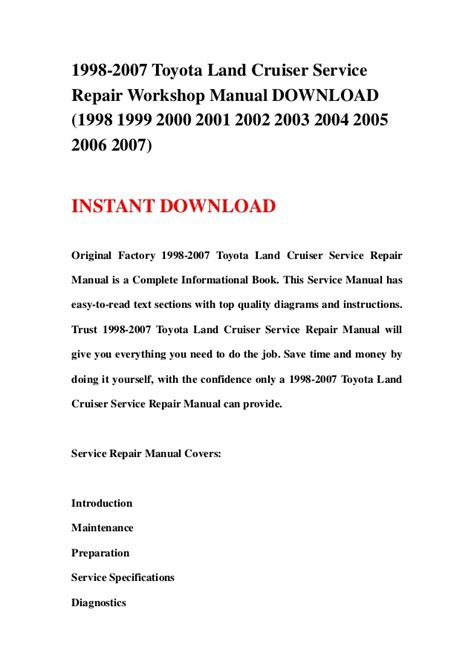 service repair manual free download 1998 toyota t100 parking system 1998 2007 toyota land cruiser service repair workshop manual download