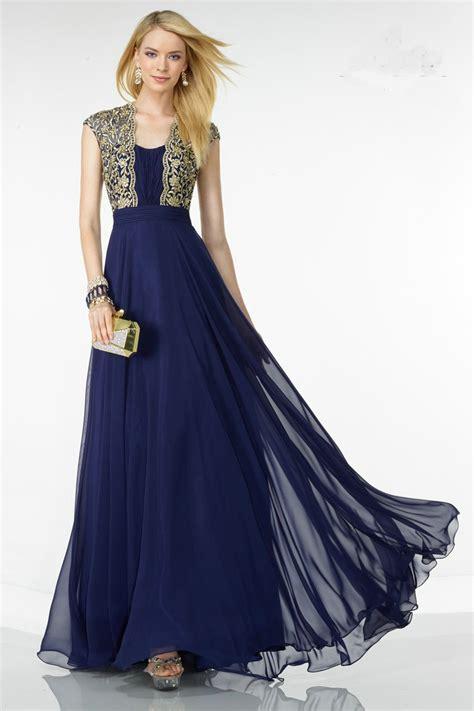 design vestido de festa longo chiffon navy blue