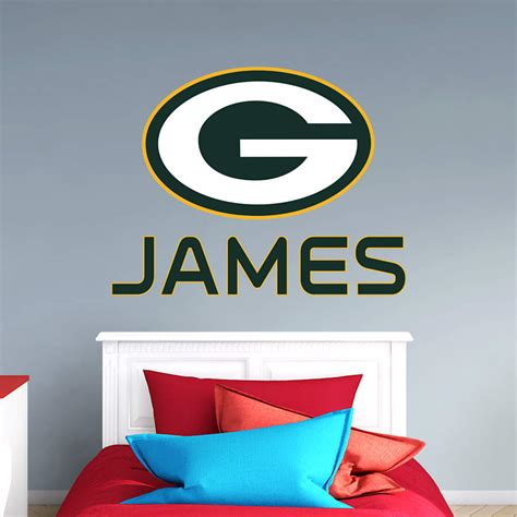 green bay packers stacked personalized name wall decal shop fathead 174 for wall d 233 cor