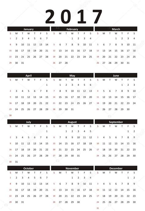 Blanko Kalender 2017 Calendar 2017 Year Strict Business Style Black And White