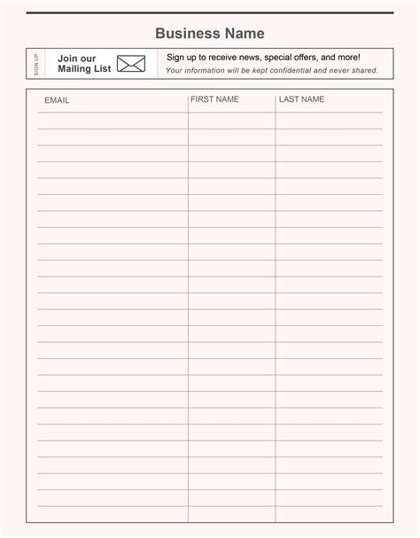 printable email sign up sheet website resume cover letter