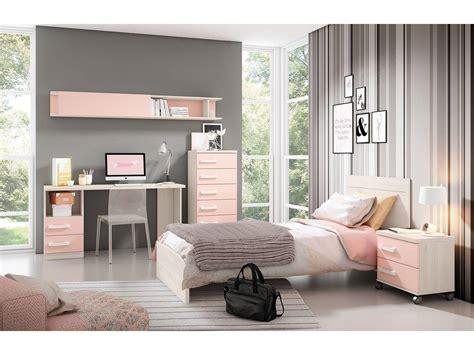 habitacion dormitorio dormitorio juvenil en colores blanco y rosa