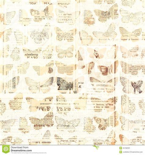 newspaper pattern antique newspaper butterflies stock image image 45782331