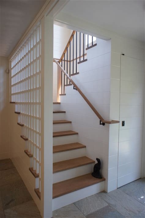 Staircase Ideas Near Entrance Entrance Mudroom Rustic Staircase Boston By Giambastiani Design