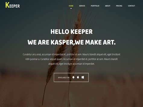 bootstrap one page template keeper one page bootstrap template script