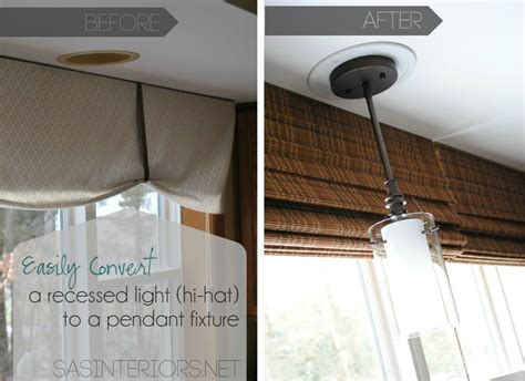 How To Replace Recessed Light Fixture Easily Change A Recessed Light To A Decorative Hanging Fixture Burger