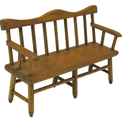 miniature bench vintage dollhouse miniature colonial wooden 3 seat bench
