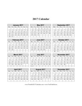 printable calendar 2017 starting monday printable 2017 calendar on one page vertical week starts