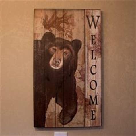 bear themed home decor wood bear welcome wall plaque bear decor