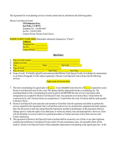 invoice samples wedding planning contract templates water truck