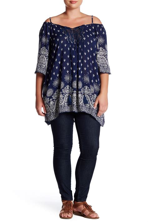 Cold Shoulder Tunic angie gauze printed cold shoulder tunic plus size in