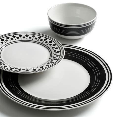gibson home classic melody 12 piece dinnerware set black white