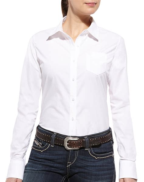 S White Sleeve Button Up Blouse by Ariat S Kirby Sleeve Solid Button Shirt