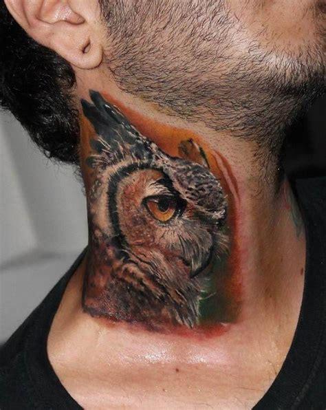 neck tattoo realistic 30 owl neck tattoo designs for men bird ink ideas