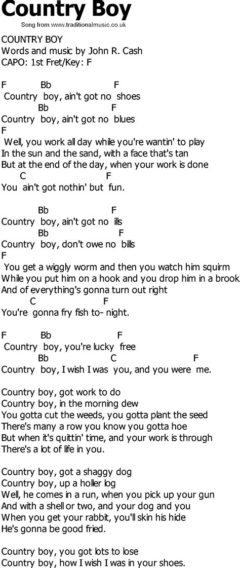 country song lyrics country song lyrics with chords country boy