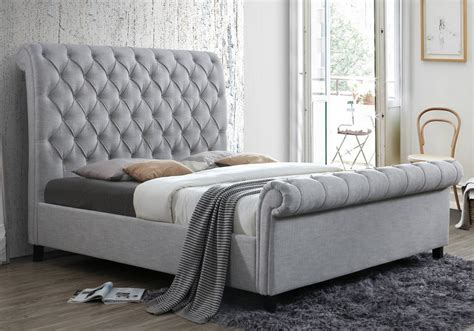 kate gray upholstered king sleigh bed louisville overstock warehouse