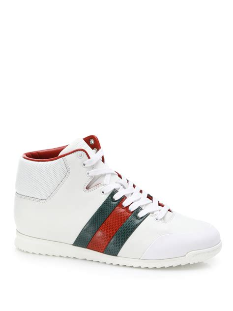 gucci white sneakers gucci sl73 leather high top sneakers in white lyst