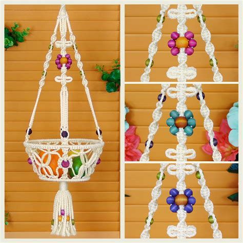 Macrame Hanging Baskets - macrame hanging basket 8 fruit bowl vegetable holder